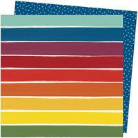 American Crafts - Late Afternoon Collection - 12 x 12 Double Sided Paper - Rainbow Lane
