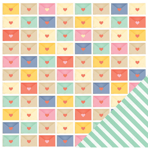 American Crafts - Dear Lizzy Lucky Charm Collection - 12 x 12 Double Sided Paper - Rainbows