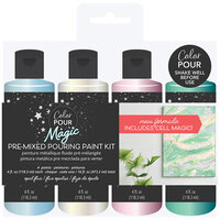 American Crafts - Color Pour Magic Collection - Pre-Mixed Pouring Paint Kit - Opal Flux