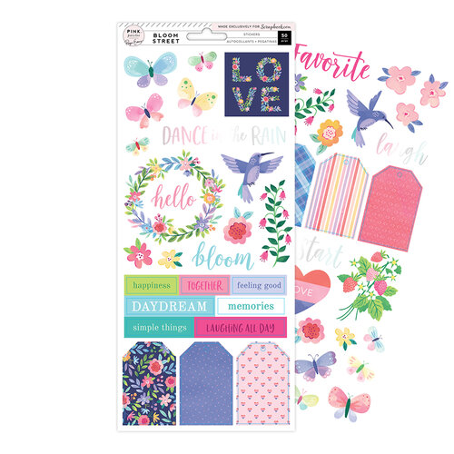 Pink Paislee - Bloom Street Collection - 6 x 12 Cardstock Stickers with Iridescent Foil Accents