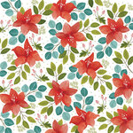 American Crafts - 12 x 12 Single Sided Paper - Christmas Floral