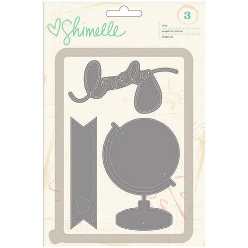 American Crafts - Shimelle Collection - Die Set - Globe, Lovely and Banner