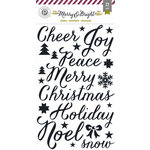 Pink Paislee - Merry and Bright Collection - Christmas - Glitter Stickers - Word Accents