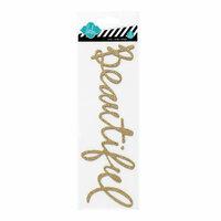 Heidi Swapp - Glitter Word Stickers - Chipboard Titles - Gold - Beautiful