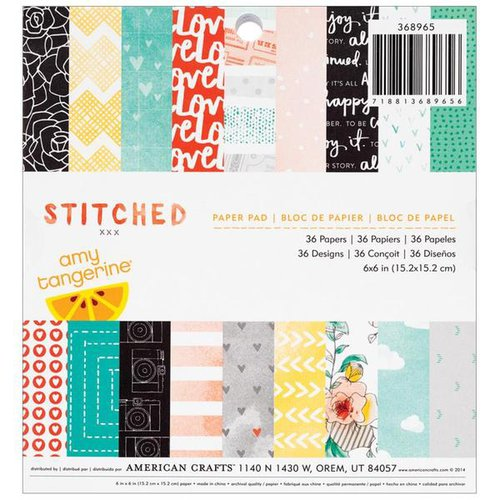 American Crafts - Amy Tangerine Collection - Stitched - 6 x 6 Paper Pad