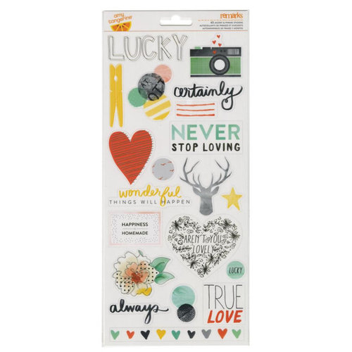 American Crafts - Stitched Collection - Transparent Stickers - Accent and Phrase