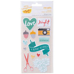 American Crafts - Amy Tangerine Collection - Stitched - Fabric Stickers - Trimmed