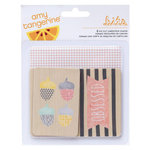 American Crafts - Amy Tangerine Collection - Stitched - Printed Chipboard Shapes