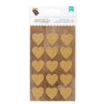 American Crafts - DIY Shop 2 Collection - Glitter Gold Heart Stickers