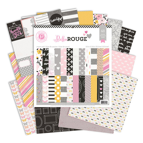 Pink Paislee - Bella Rouge Collection - 12 x 12 Paper Pad