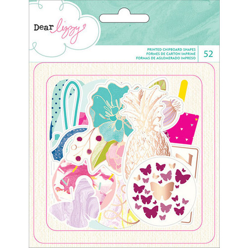 American Crafts - Dear Lizzy Serendipity Collection - Die Cut Cardstock Shapes with Foil Accents