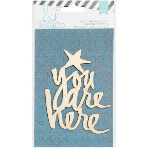 Heidi Swapp - Wanderlust Collection - Wood Veneer Pieces - Quote - You Are Here