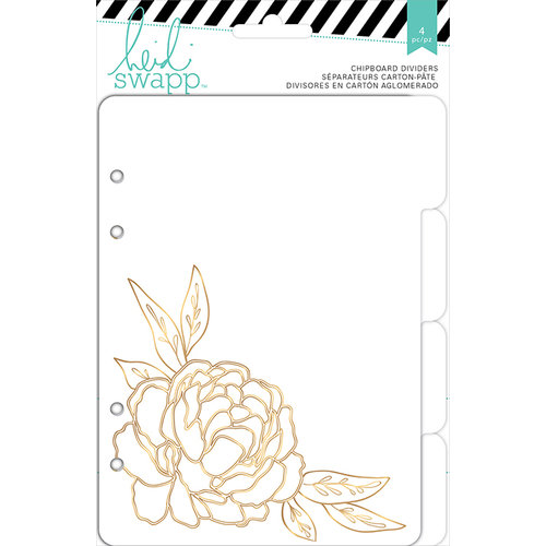 Heidi Swapp - Wanderlust Collection - 5 x 7 Memory Binder Inserts - Chipboard Tabs Dividers - Gold Foil