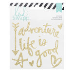 Heidi Swapp - Wanderlust Collection - Vinyl Stickers - Gold Glitter