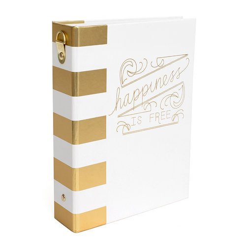 Heidi Swapp - Wanderlust Collection - 5 x 7 Memory Binder - Gold Foil - Modern