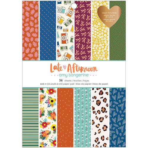 American Crafts - Late Afternoon Collection - 6 x 8 Paper Pad with Copper Foil Accents