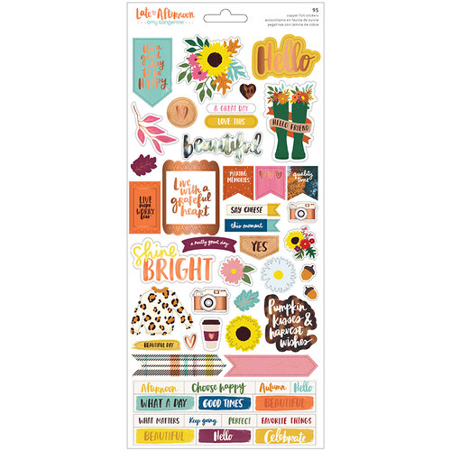 American Crafts - Late Afternoon Collection - 6 x 12 Cardstock Sticker Sheet with Copper Foil Accents