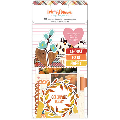 American Crafts - Late Afternoon Collection - Ephemera with Copper Foil Accents