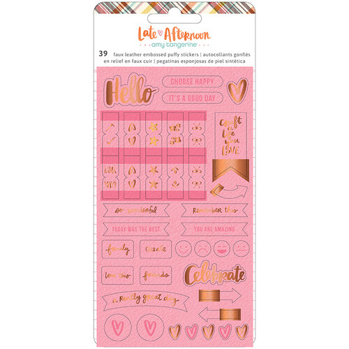 American Crafts - Late Afternoon Collection - Embossed Puffy Stickers with Debossing and Copper Foil Accents
