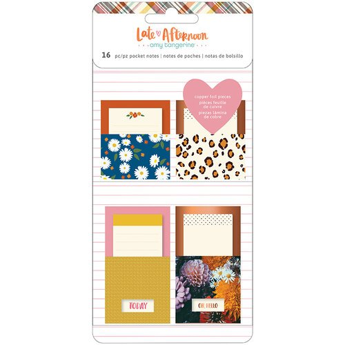 American Crafts - Late Afternoon Collection - Adhesive Pocket Notes with Copper Foil Accents