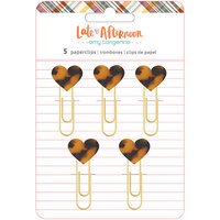 American Crafts - Late Afternoon Collection - Heart Paperclips - Tortoise Shell