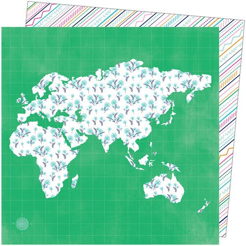 American Crafts - Go the Scenic Route Collection - 12 x 12 Double Sided Paper - Paper 5