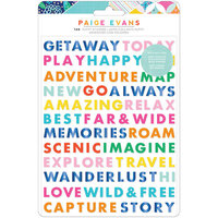 American Crafts - Go the Scenic Route Collection - Puffy Word Stickers with Navy Foil Accents