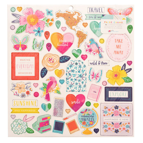 Paige Evans - Go the Scenic Route Collection - 12 x 12 Chipboard Stickers
