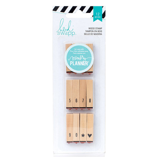 Heidi Swapp - Hello Beautiful Collection - Memory Planner - Wood Stamps - Calendar Number Stamps