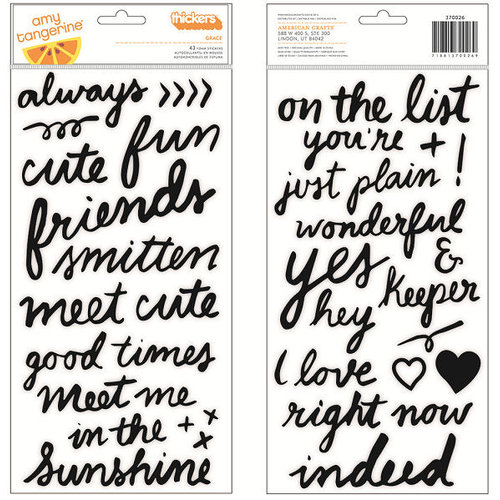 American Crafts - Amy Tangerine Collection - Rise and Shine - Thickers - Foam - Grace - Black