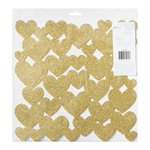 American Crafts - Fine and Dandy Collection - 12 x 12 Die Cut Foam Hearts - Glitter Gold