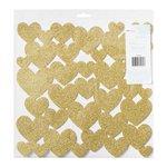 American Crafts - Fine and Dandy Collection - 12 x 12 Die Cut Foam Hearts - Glitter Gold