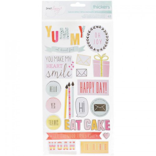 American Crafts - Fine and Dandy Collection - Thickers - Chipboard - Phrase and Accents - Gold Foil