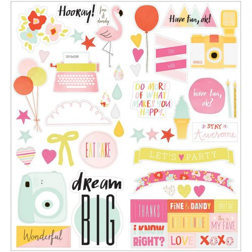 American Crafts - Fine and Dandy Collection - Cardstock Stickers - Accent and Phrase