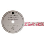 American Crafts - Glitter Ribbon - Pink Heart - 0.625 Inch - 3 Yards
