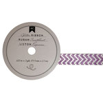 American Crafts - Glitter Ribbon - Purple Chevron - 0.625 Inch - 3 Yards