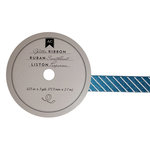 American Crafts - Glitter Ribbon - Teal Stripe - 0.625 Inch - 3 Yards
