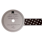 American Crafts - Glitter Ribbon - Black Polka Dot - 0.825 Inch - 3 Yards