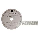 American Crafts - Glitter Ribbon - Silver Stripe - 0.625 Inch - 3 Yards