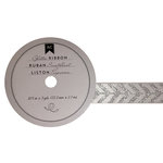 American Crafts - Glitter Ribbon - Silver Arrows - 0.825 Inch - 3 Yards