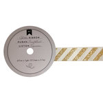 American Crafts - Glitter Ribbon - Gold Stripes - 0.825 Inch - 3 Yards