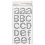 American Crafts - Thickers - Rootbeer Float - Chipboard Glitter Alpha Stickers - Silver