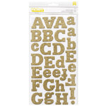 American Crafts - Thickers - Eric - Chipboard Glitter Alpha Stickers - Gold