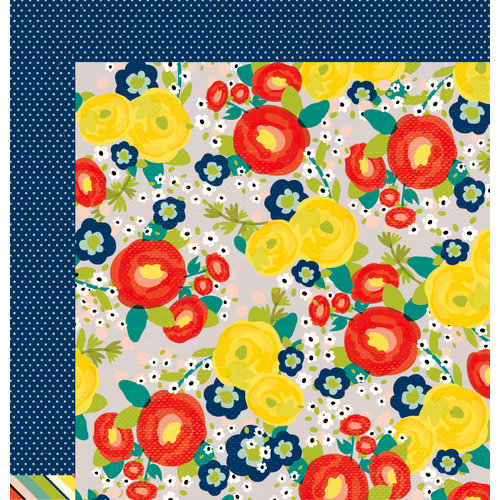 American Crafts - True Stories Collection - 12 x 12 Double Sided Paper - Grey Floral