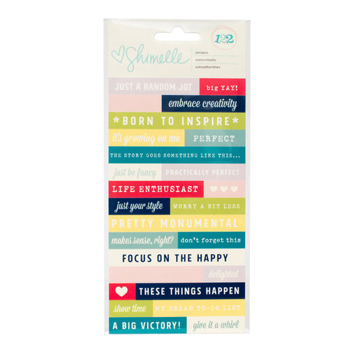 American Crafts - True Stories Collection - Cardstock Stickers - Phrase and Alphabet