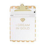 American Crafts - 9 x 12.5 Clipboard with Print - Gold With Clear Dots