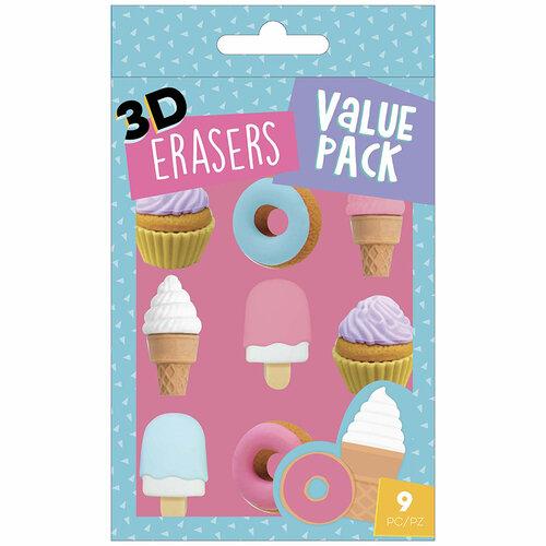 American Crafts - Office - 9 Piece - 3D Erasers - Dessert