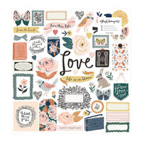 Crate Paper - Fresh Bouquet Collection - 12 x 12 Chipboard Stickers