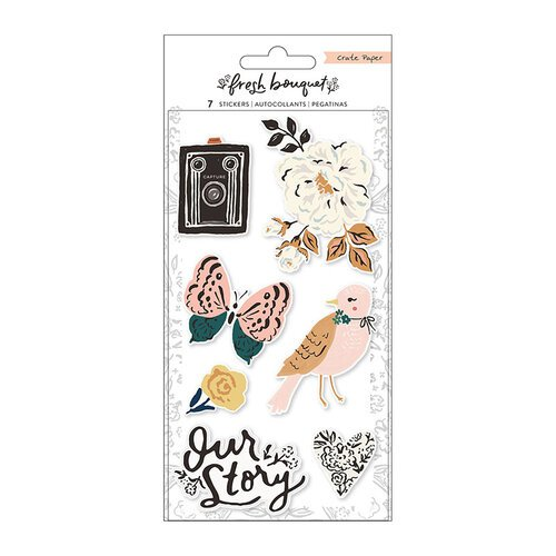 Crate Paper - Fresh Bouquet Collection - Embossed Puffy Stickers