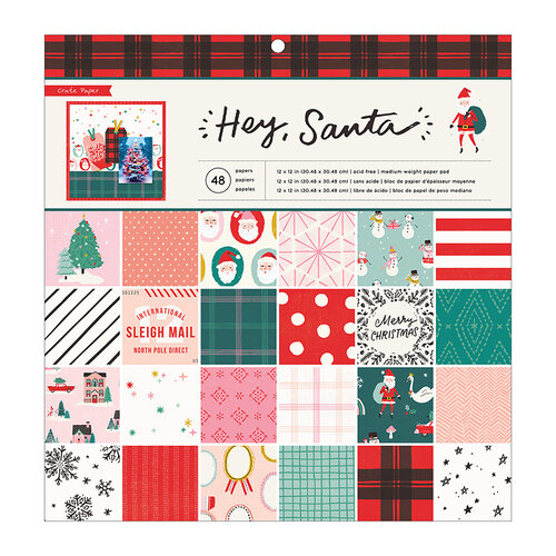 Crate Paper - Hey Santa Collection - 12 x 12 Paper Pad